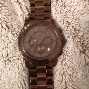 Rare brown Michael Kors all stainless steel watch